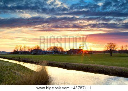Beautiful Sunset In Farmland