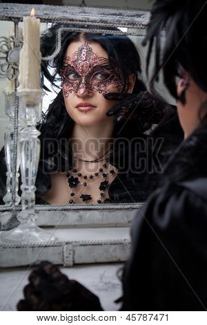 Gothic Lady At Mirror