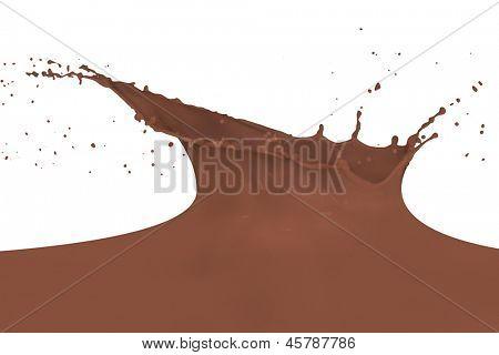 chocolate milk splash isolated on white background