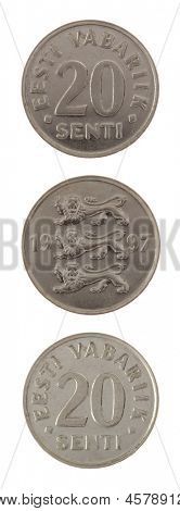 Old Estonian 20 senti coin isolated on white