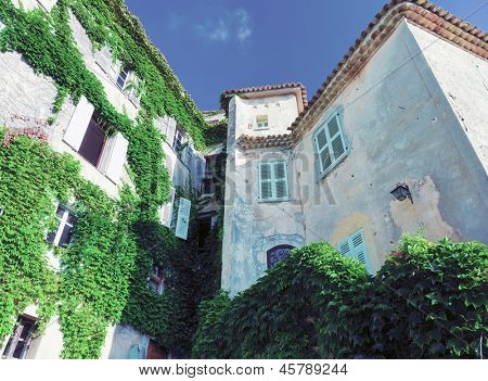 beautiful house facade in Eze village. France