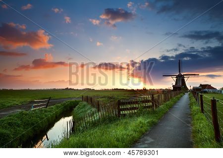 Sunrise Behind Windmill, Netherlands