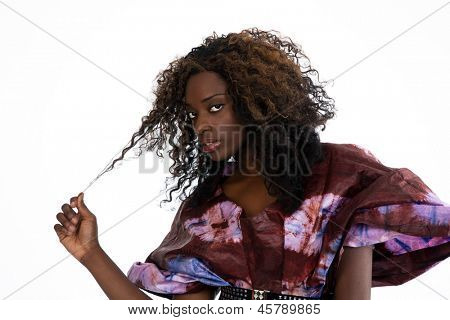 Portrait of a young, beautiful African American woman in ethnic style dress