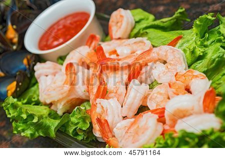 Shrimps On A Plate