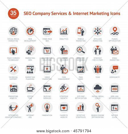 Conjunto de SEO y Marketing iconos
