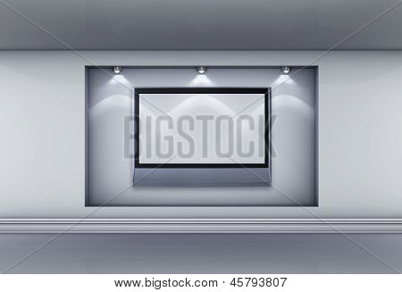 3D  Niche With Lcd Tv And Spotlights For Exhibit In The Grey Interior.
