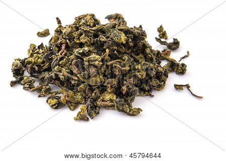 Dry oolong tea leaves