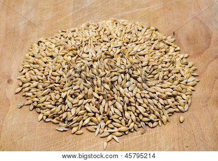 Wheat Seeds On A Wooden Board