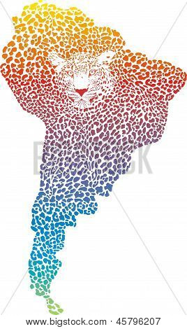 Jaguar abstracta del mapa de America.eps del sur