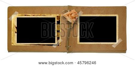 Old Photo Album With Beautiful Dried Rose Isolated On A White Background