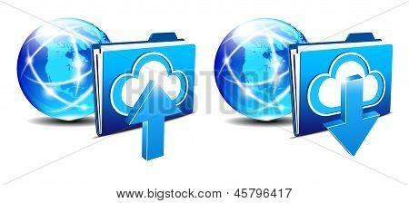 Upload Download Folder and Communication Internet World