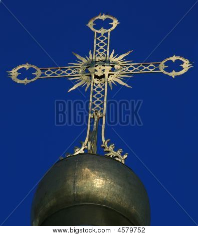 The Cupola With Cross At An Orthodox Russian Church