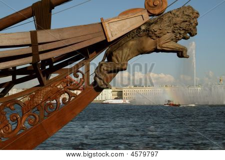 Rostrum Of Old Ship In Saint-petersburg, Russia