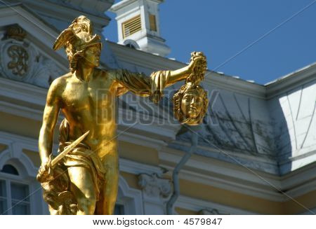 Perseus With Medusa Gorgona's Head. Fountain In Petrodvorets (peterhof), St Petersburg, Russia.