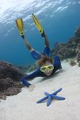 Young lady diving on a breath hold and exploring sea bottom