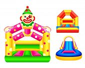 stock photo of funfair  - Bouncing or jumping castles design - JPG