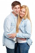 Beautiful young couple on white background