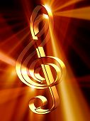 stock photo of treble clef  - 3d rendered illustration of golden treble clef - JPG