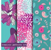 Set of three seamless pattern. Flowers and birds theme. Easy editable, vector format.