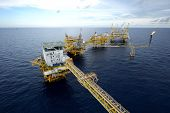 stock photo of offshore  - The large offshore oil rig drilling platform - JPG