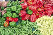 stock photo of farmers market vegetables  - Vegetable stand at the farmers - JPG