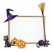stock photo of broom  - Halloween sign with witches hat Halloween pumpkin witches black cat and broom stick and blank sign for your text - JPG