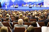 MOSCOW - NOVEMBER 14: Heads of attentive listeners at Forum Small Business - New Economy, dedicated