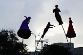 MOSCOW - AUGUST 18: Silhouettes of Strange Fruit (Australia) artists at festival Bright people in Go