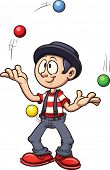 Cartoon juggler. Vector clip art illustration with simple gradients. All in a single layer.