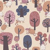 Funny cute sheep in forest. Animals and trees in vintage colors. Seamless pattern can be used for wa