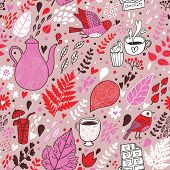 Tasty seamless pattern with birds and flowers. Tea, coffee, chocolate and cupcakes. Seamless pattern