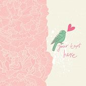 Pink colored floral background with cartoon bird in vector