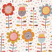 Cartoon flowers. Cute seamless pattern with bright flowers in vector. Can be used for summer backgro