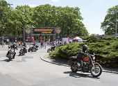 WROCLAW, POLAND - MAY 19: Motorcyclists are leaving event
