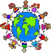 image of holding hands  - happy and diverse kids holding hands around the world  - JPG