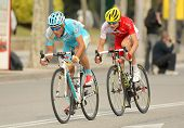 BARCELONA - MARCH, 24: Dyachenko(L) of Astana and Rudy Molard(R) of Cofidis rides during the Tour of