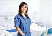 foto of nursing  - Portrait of a beautiful smiling nurse - JPG