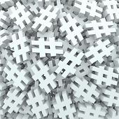 image of hashtag  - A background of hash tags or pound or number signs to illustrate new social media technology platforms that let you tag posts - JPG