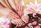 stock photo of fingers legs  - Spa background with a beautiful legs - JPG