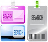 Search. Id cards. Raster illustration.