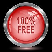 100% free. Internet button. Raster illustration.