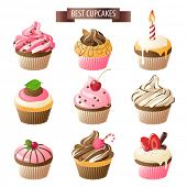 stock photo of chocolate muffin  - Set of 9 colorful cupcakes - JPG