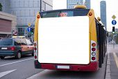 picture of bus-shelter  - Blank billboard on back of a bus - JPG
