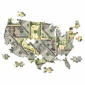 picture of united states map  - American dollar Map jigsaw with missing pieces illustration - JPG