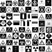 stock photo of warning-signs  - fine vector collection of several hazard symbol - JPG