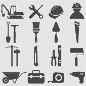 stock photo of hammer drill  - Worker tools icons set - JPG
