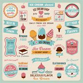 Collection of Ice Cream Design Badges and Labels.Vector Illustration
