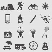 picture of camper  - Camping icons set - JPG