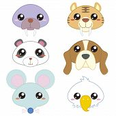 image of saber tooth tiger  - six cute cartoon animal head icons with white background - JPG