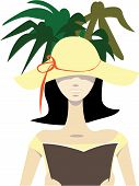stock photo of palm-reading  - Vector illustration of a woman with floppy sun hat reading a book in shade under palms on holidays - JPG